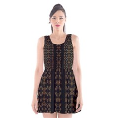 Dark Arabic Stripes Print Scoop Neck Skater Dress by dflcprintsclothing