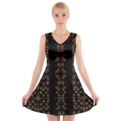 Dark Arabic Stripes Print V-Neck Sleeveless Skater Dress by dflcprintsclothing