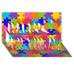 Funny Colorful Jigsaw Puzzle Happy Birthday 3D Greeting Card (8x4)