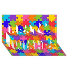 Funny Colorful Jigsaw Puzzle Best Wish 3d Greeting Card (8x4)  by yoursparklingshop