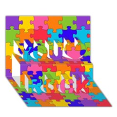 Funny Colorful Jigsaw Puzzle You Rock 3d Greeting Card (7x5)  by yoursparklingshop