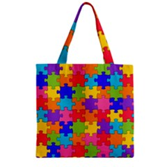 Funny Colorful Jigsaw Puzzle Zipper Grocery Tote Bag by yoursparklingshop