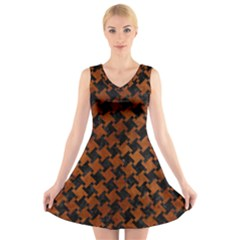 Houndstooth2 Black Marble & Brown Burl Wood V Neck Sleeveless Dress