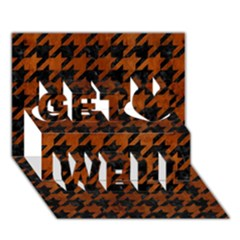 Houndstooth1 Black Marble & Brown Burl Wood Get Well 3d Greeting Card (7x5) by trendistuff