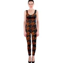 Houndstooth1 Black Marble & Brown Burl Wood Onepiece Catsuit by trendistuff