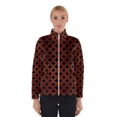 Circles3 Black Marble & Brown Burl Wood Winter Jacket by trendistuff