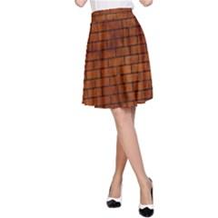 Brick1 Black Marble & Brown Burl Wood (r) A Line Skirt by trendistuff