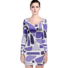 Silly Purples Long Sleeve Velvet Bodycon Dress by FunWithFibro