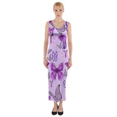 Purple Awareness Butterflies Fitted Maxi Dress by FunWithFibro
