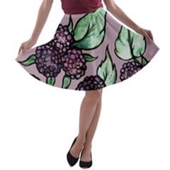 Black Raspberry Fruit Purple Pattern A-line Skater Skirt by BubbSnugg
