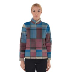 Rectangles In Retro Colors Pattern                      Winter Jacket by LalyLauraFLM
