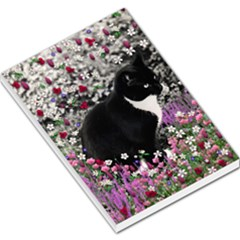 Freckles In Flowers Ii, Black White Tux Cat Large Memo Pads by DianeClancy