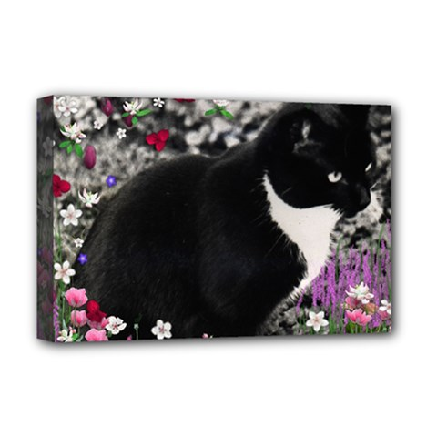 Freckles In Flowers Ii, Black White Tux Cat Deluxe Canvas 18  X 12   by DianeClancy