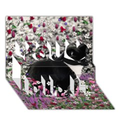 Freckles In Flowers Ii, Black White Tux Cat You Did It 3d Greeting Card (7x5) by DianeClancy