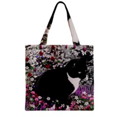 Freckles In Flowers Ii, Black White Tux Cat Grocery Tote Bag by DianeClancy