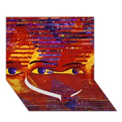 Conundrum Iii, Abstract Purple & Orange Goddess Heart Bottom 3d Greeting Card (7x5)  by DianeClancy