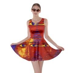 Conundrum Iii, Abstract Purple & Orange Goddess Skater Dress by DianeClancy