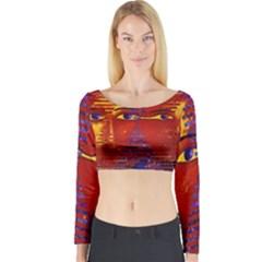 Conundrum Iii, Abstract Purple & Orange Goddess Long Sleeve Crop Top by DianeClancy