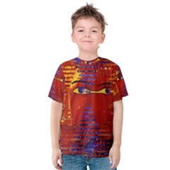 Conundrum Iii, Abstract Purple & Orange Goddess Kid s Cotton Tee by DianeClancy