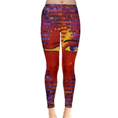Conundrum Iii, Abstract Purple & Orange Goddess Winter Leggings  by DianeClancy