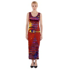 Conundrum Iii, Abstract Purple & Orange Goddess Fitted Maxi Dress by DianeClancy
