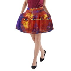 Conundrum Iii, Abstract Purple & Orange Goddess A Line Pocket Skirt by DianeClancy