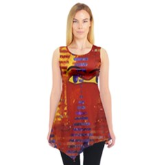 Conundrum Iii, Abstract Purple & Orange Goddess Sleeveless Tunic by DianeClancy