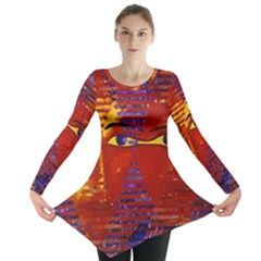 Conundrum Iii, Abstract Purple & Orange Goddess Long Sleeve Tunic  by DianeClancy