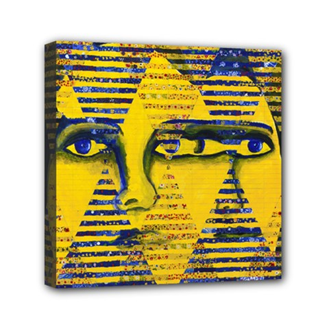 Conundrum Ii, Abstract Golden & Sapphire Goddess Mini Canvas 6  X 6  by DianeClancy