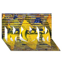 Conundrum Ii, Abstract Golden & Sapphire Goddess Mom 3d Greeting Card (8x4)  by DianeClancy