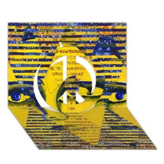 Conundrum Ii, Abstract Golden & Sapphire Goddess Peace Sign 3d Greeting Card (7x5)  by DianeClancy