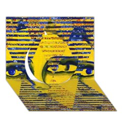 Conundrum Ii, Abstract Golden & Sapphire Goddess Circle 3d Greeting Card (7x5)  by DianeClancy