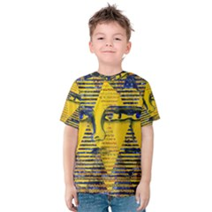 Conundrum Ii, Abstract Golden & Sapphire Goddess Kid s Cotton Tee by DianeClancy