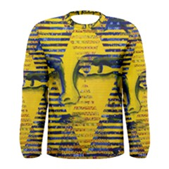 Conundrum Ii, Abstract Golden & Sapphire Goddess Men s Long Sleeve Tee by DianeClancy