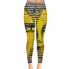 Conundrum Ii, Abstract Golden & Sapphire Goddess Winter Leggings  by DianeClancy