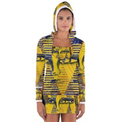 Conundrum Ii, Abstract Golden & Sapphire Goddess Women s Long Sleeve Hooded T Shirt by DianeClancy