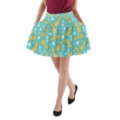 Summer Pineapples Fruit Pattern A Line Pocket Skirt by TastefulDesigns