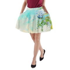 Watercolor Fresh Flowery Background A-Line Pocket Skirt by TastefulDesigns