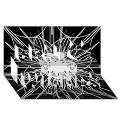 Black And White Flower Mandala Art Kaleidoscope Best Wish 3d Greeting Card (8x4)  by yoursparklingshop