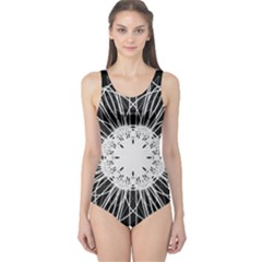 Black And White Flower Mandala Art Kaleidoscope One Piece Swimsuit by yoursparklingshop