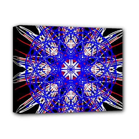 Kaleidoscope Flower Mandala Art Black White Red Blue Deluxe Canvas 14  X 11  by yoursparklingshop