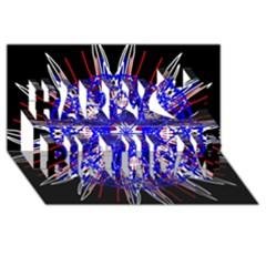 Kaleidoscope Flower Mandala Art Black White Red Blue Happy Birthday 3d Greeting Card (8x4)  by yoursparklingshop
