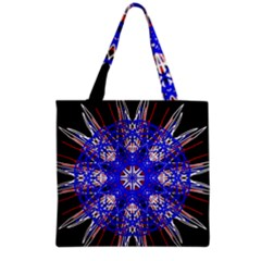 Kaleidoscope Flower Mandala Art Black White Red Blue Grocery Tote Bag by yoursparklingshop