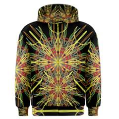 Kaleidoscope Flower Mandala Art Black Yellow Orange Red Men s Zipper Hoodie by yoursparklingshop