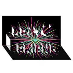 Pink Turquoise Black Star Kaleidoscope Flower Mandala Art Best Friends 3d Greeting Card (8x4)  by yoursparklingshop