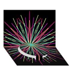 Pink Turquoise Black Star Kaleidoscope Flower Mandala Art Circle Bottom 3d Greeting Card (7x5)  by yoursparklingshop
