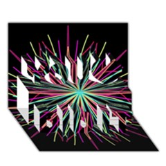 Pink Turquoise Black Star Kaleidoscope Flower Mandala Art You Did It 3d Greeting Card (7x5) by yoursparklingshop