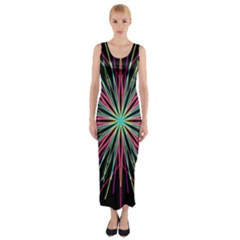 Pink Turquoise Black Star Kaleidoscope Flower Mandala Art Fitted Maxi Dress by yoursparklingshop