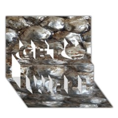 Festive Silver Metallic Abstract Art Get Well 3d Greeting Card (7x5)  by yoursparklingshop