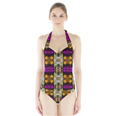 Contemplative Floral And Pearls  Women s Halter One Piece Swimsuit